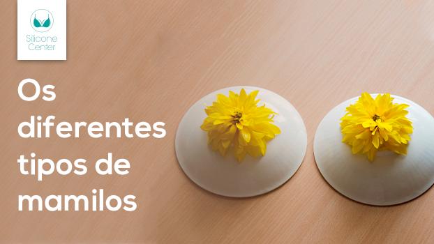 Flores em próteses de silicone ilustrando os tipos de mamilos